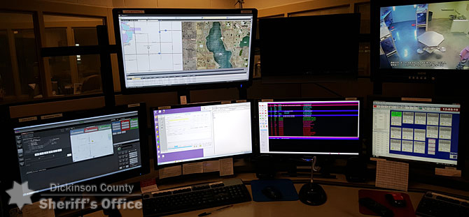 One of three workstations that dispatchers operate inside the Communications Center.